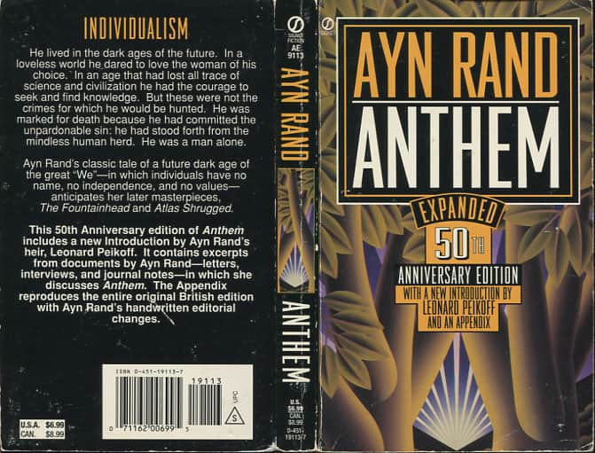 ayn rand's anthem a commentary about We were just finishing up our first of two novellas – anthem, by ayn rand – when my plans for the rest of the semester received a most.